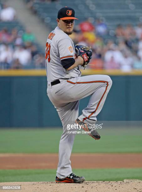 Starting pitcher Wade Miley of the Baltimore Orioles delivers the ball against the Chicago White Sox at Guaranteed Rate Field on June 12 2017 in...