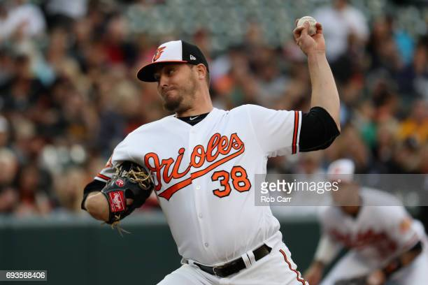 Starting pitcher Wade Miley of the Baltimore Orioles throws to a Pittsburgh Pirates batter in the first inning at Oriole Park at Camden Yards on June...