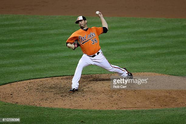 Starting pitcher Wade Miley of the Baltimore Orioles throws to an Arizona Diamondbacks batter in the ninth inning at Oriole Park at Camden Yards on...