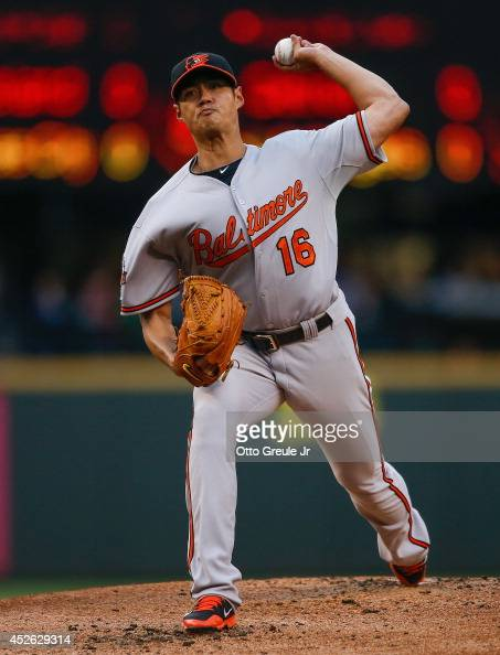 Starting pitcher WeiYin Chen of the Baltimore Orioles pitches in the first inning against the Seattle Mariners at Safeco Field on July 24 2014 in...