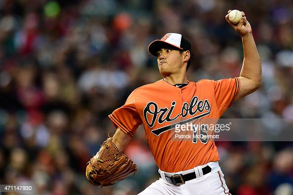 Starting pitcher WeiYin Chen of the Baltimore Orioles pitches to a Boston Red Sox batter in the first inning during a baseball game at Oriole Park at...