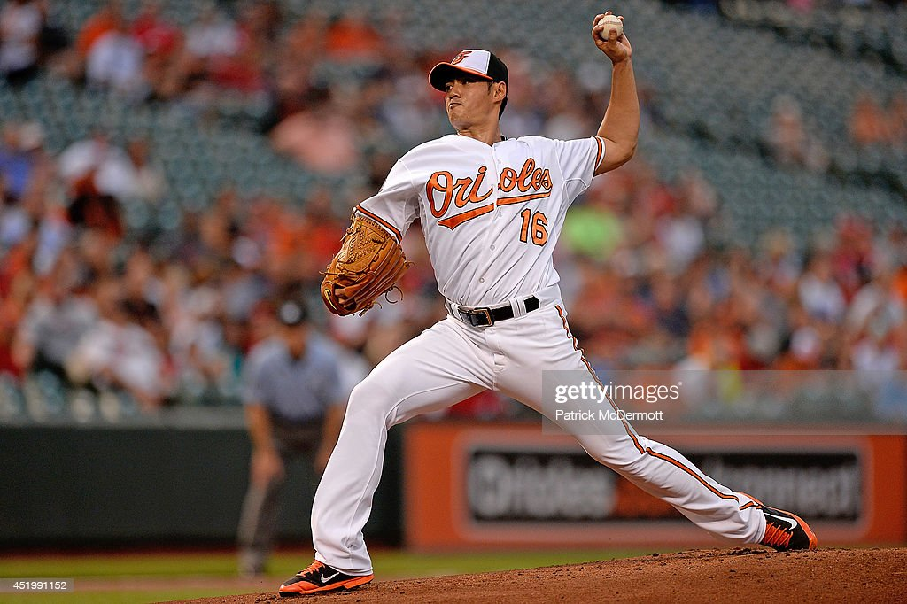 Starting pitcher Wei-Yin Chen #16 of the Baltimore Orioles throws a pitch in the first inning during a game against the Washington Nationals at Oriole Park at Camden Yards on July 10, 2014 in Baltimore, Maryland.