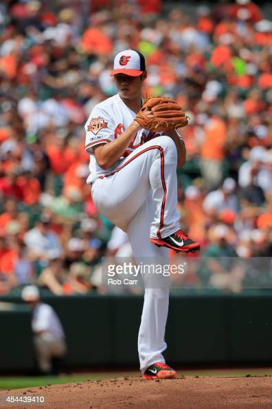 Starting pitcher WeiYin Chen of the Baltimore Orioles throws to a Minnesota Twins batter during the first inning at Oriole Park at Camden Yards on...