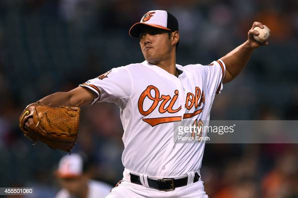 Starting pitcher WeiYin Chen of the Baltimore Orioles works the first inning against the Toronto Blue Jays at Oriole Park at Camden Yards on...