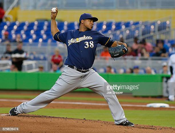 Starting pitcher Wily Peralta of the Milwaukee Brewers throws against the Miami Marlins at Marlins Park on May 9 2016 in Miami Florida