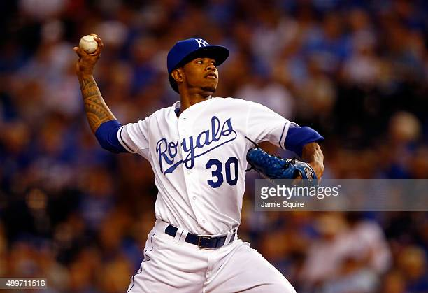 Starting pitcher Yordano Ventura of the Kansas City Royals pitches during the 1st inning of the game against the Seattle Mariners at Kauffman Stadium...