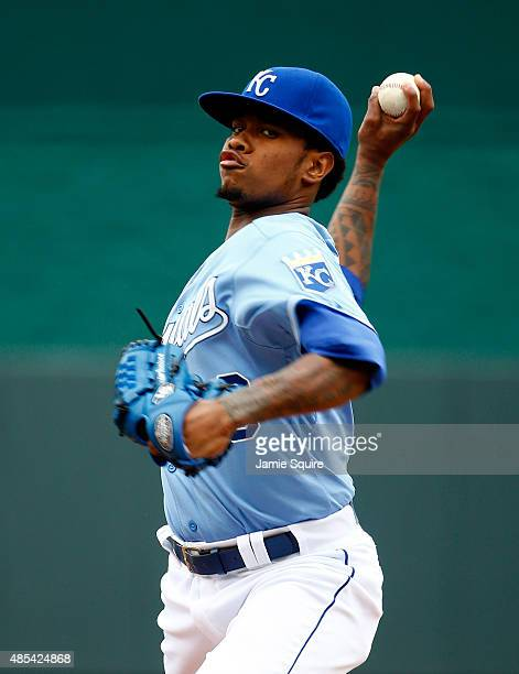 Starting pitcher Yordano Ventura of the Kansas City Royals warms up prior to the game against the Baltimore Orioles at Kauffman Stadium on August 27...