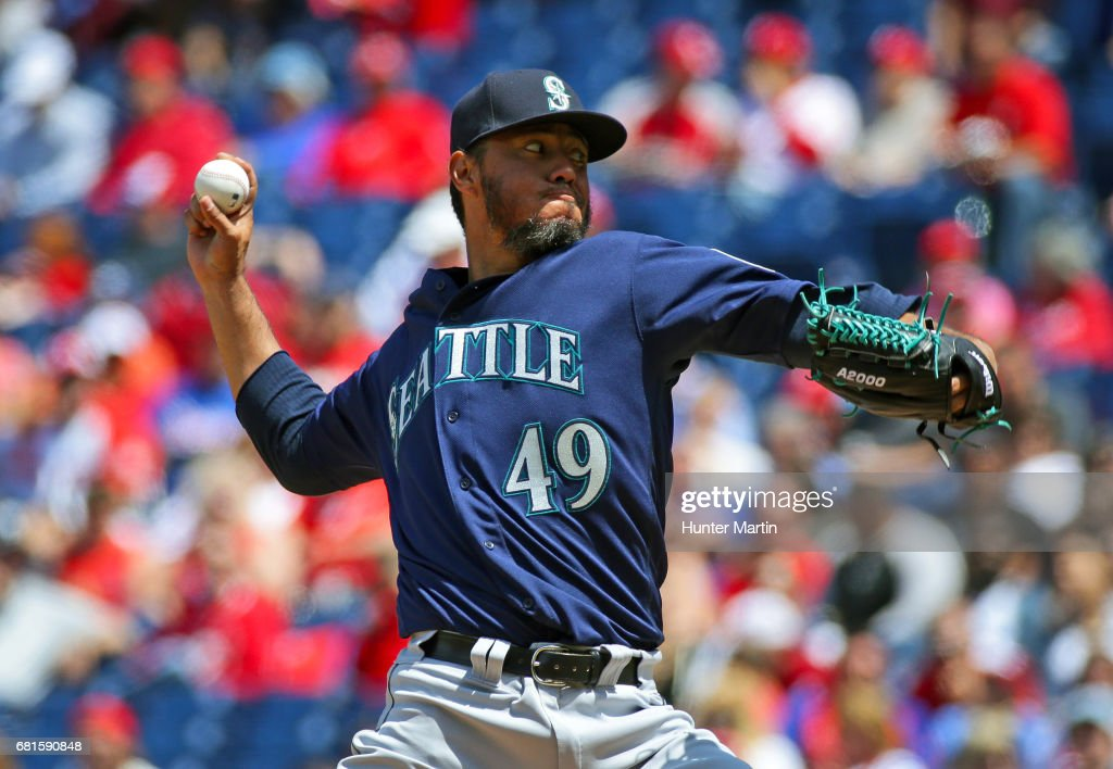 Starting pitcher Yovani Gallardo #49 of the Seattle Mariners throws a pitch in the second inning during a game against the Philadelphia Phillies at Citizens Bank Park on May 10, 2017 in Philadelphia, Pennsylvania.