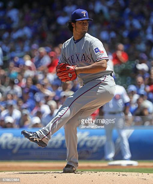 Starting pitcher Yu Darvish of the Texas Rangers delivers the ball against the Chicago Cubs at Wrigley Field on July 16 2016 in Chicago Illinois