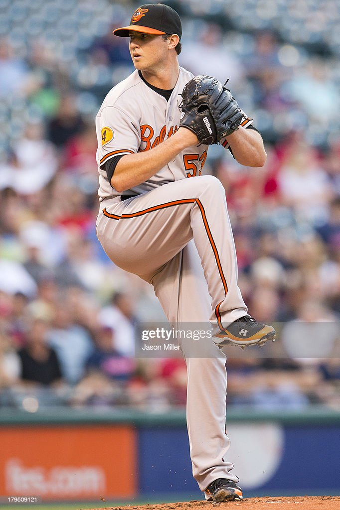 Starting pitcher <a gi-track='captionPersonalityLinkClicked' href=/galleries/search?phrase=Zach+Britton&family=editorial&specificpeople=7091505 ng-click='$event.stopPropagation()'>Zach Britton</a> #53 of the Baltimore Orioles pitches during the first inning against the Cleveland Indians at Progressive Field on September 4, 2013 in Cleveland, Ohio.