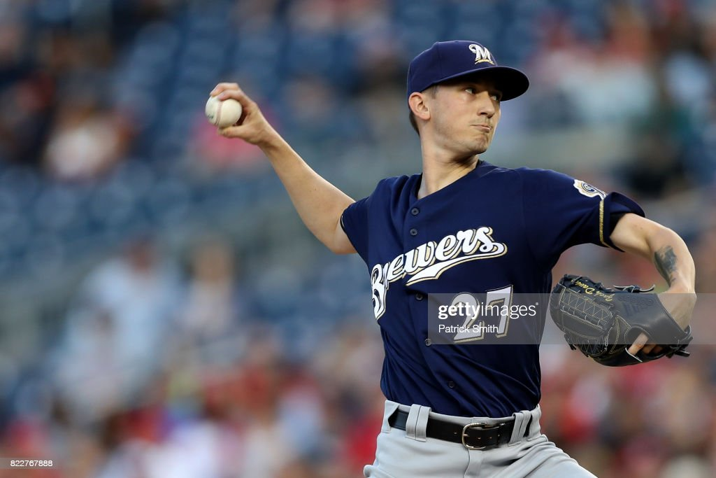 Starting pitcher Zach Davies #27 of the Milwaukee Brewers works the second inning against the Washington Nationals at Nationals Park on July 25, 2017 in Washington, DC.