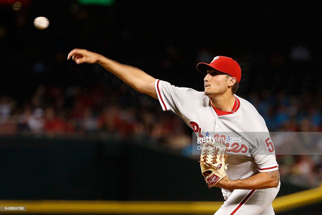 Starting pitcher Zach Eflin #56 of the Philadelphia Phillies pitches against the Arizona Diamondbacks during the first inning of the MLB game at Chase Field on June 29, 2016 in Phoenix, Arizona.