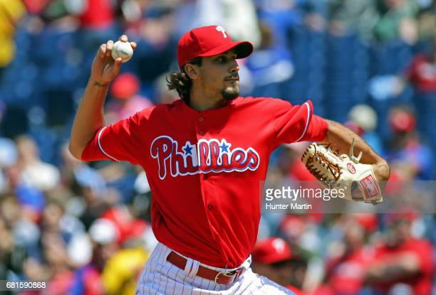 Starting pitcher Zach Eflin of the Philadelphia Phillies throws a pitch in the second inning during a game against the Seattle Mariners at Citizens...
