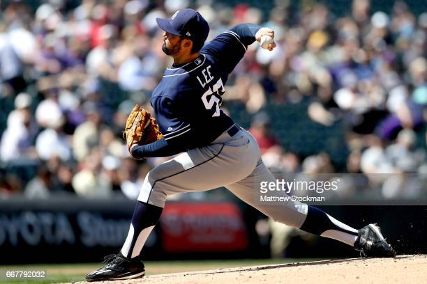 Starting pitcher Zach Lee of the San Diego Padres throws against the Colorado Rockies at Coors Field on April 12 2017 in Denver Colorado