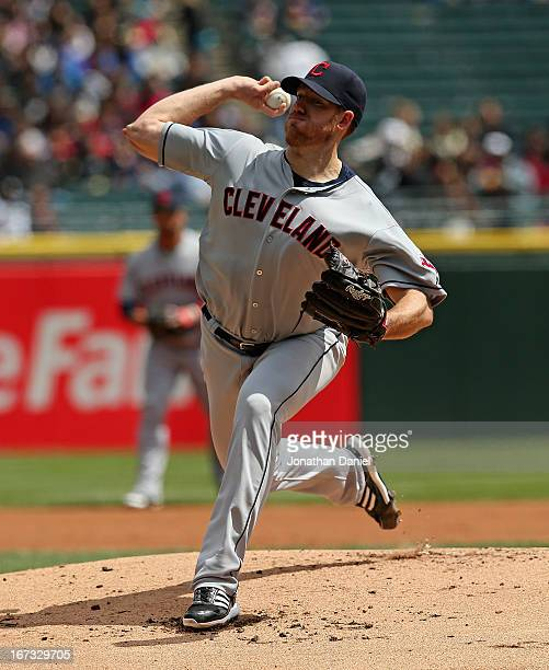 Starting pitcher Zach McAllister of the Cleveland Indians delivers the ball against the Chicago White Sox at US Cellular Field on April 24 2013 in...