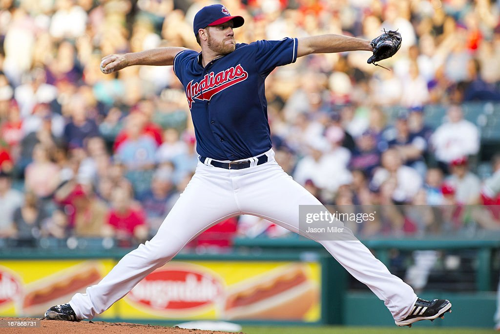 Starting pitcher <a gi-track='captionPersonalityLinkClicked' href=/galleries/search?phrase=Zach+McAllister&family=editorial&specificpeople=6816291 ng-click='$event.stopPropagation()'>Zach McAllister</a> #34 of the Cleveland Indians pitches during the second inning against the Philadelphia Phillies at Progressive Field on April 30, 2013 in Cleveland, Ohio.