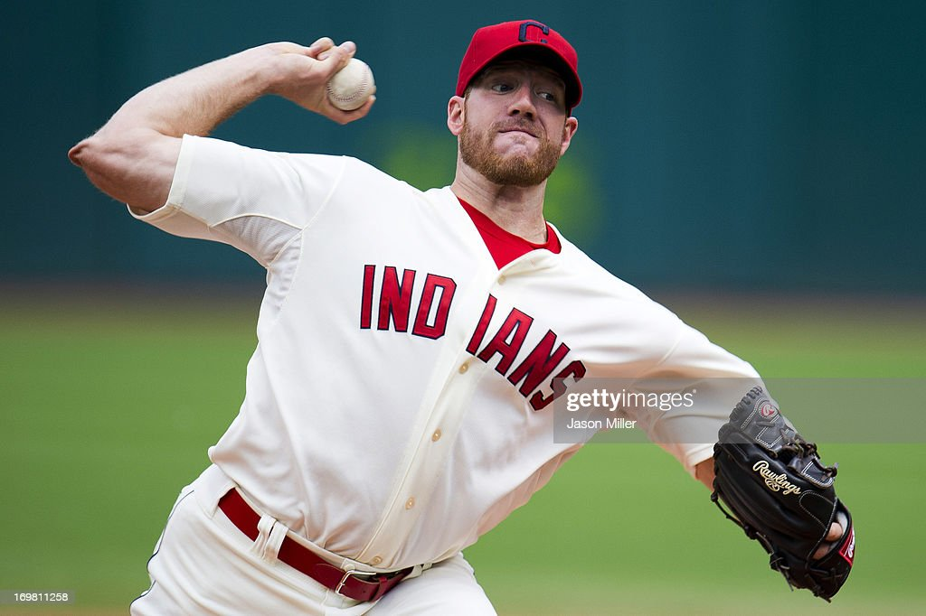 Starting pitcher <a gi-track='captionPersonalityLinkClicked' href=/galleries/search?phrase=Zach+McAllister&family=editorial&specificpeople=6816291 ng-click='$event.stopPropagation()'>Zach McAllister</a> #34 of the Cleveland Indians pitches during the first inning against the Tampa Bay Rays at Progressive Field on June 2, 2013 in Cleveland, Ohio.