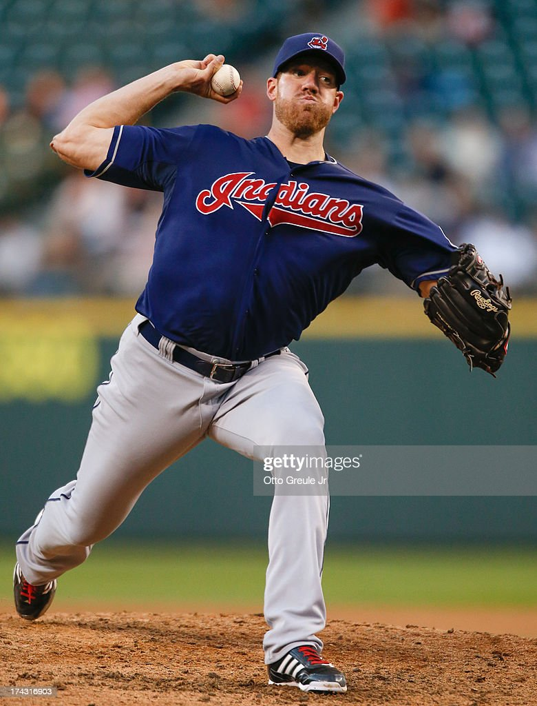 Starting pitcher <a gi-track='captionPersonalityLinkClicked' href=/galleries/search?phrase=Zach+McAllister&family=editorial&specificpeople=6816291 ng-click='$event.stopPropagation()'>Zach McAllister</a> #34 of the Cleveland Indians pitches against the Seattle Mariners at Safeco Field on July 23, 2013 in Seattle, Washington.