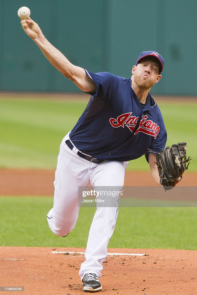 Starting pitcher Zach McAllister #34 of the Cleveland Indians pitches during the first inning against the Detroit Tigers at Progressive Field on August 8, 2013 in Cleveland, Ohio.
