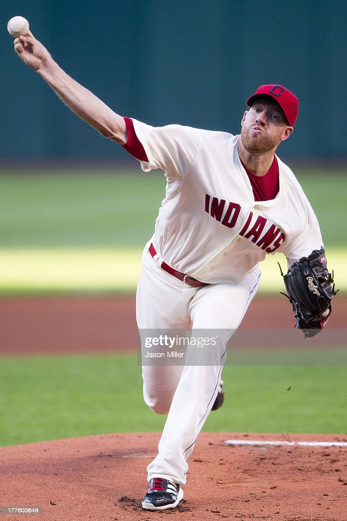 Starting pitcher <a gi-track='captionPersonalityLinkClicked' href=/galleries/search?phrase=Zach+McAllister&family=editorial&specificpeople=6816291 ng-click='$event.stopPropagation()'>Zach McAllister</a> #34 of the Cleveland Indians pitches during the first inning against the Minnesota Twins at Progressive Field on August 24, 2013 in Cleveland, Ohio.