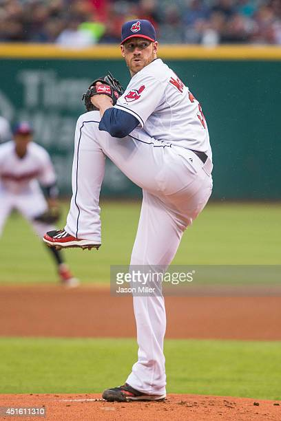 Starting pitcher Zach McAllister of the Cleveland Indians pitches during the first inning against the Oakland Athletics at Progressive Field on May...