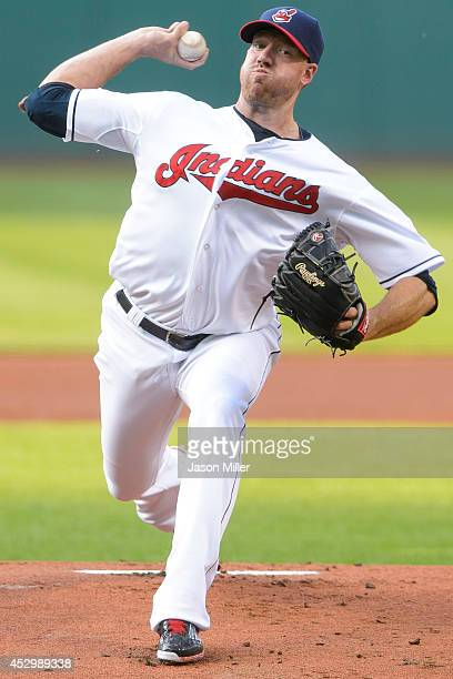 Starting pitcher Zach McAllister of the Cleveland Indians pitches during the first inning against the Seattle Mariners at Progressive Field on July...