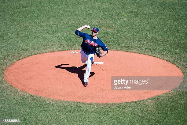 Starting pitcher Zach McAllister of the Cleveland Indians pitches during the first inning against the San Diego Padres during the first game of a...