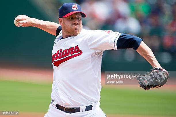 Starting pitcher Zach McAllister of the Cleveland Indians pitches during the first inning against the Detroit Tigers at Progressive Field on May 21...