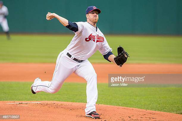 Starting pitcher Zach McAllister of the Cleveland Indians pitches during the first inning against the Minnesota Twins at Progressive Field on May 5...
