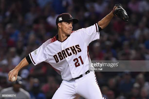 Starting pitcher Zack Greinke of the Arizona Diamondbacks throws during the first inning of the National League Divisional Series game three against...