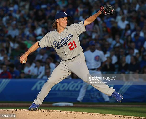 Starting pitcher Zack Greinke of the Los Angeles Dodgers delivers the ball against the Chicago Cubs at Wrigley Field on June 23 2015 in Chicago...