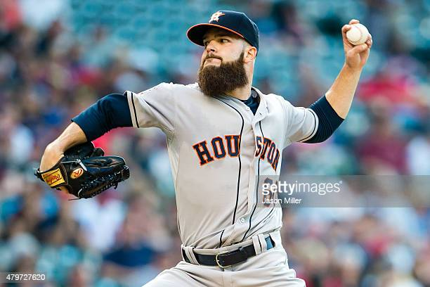 Starting pitches Dallas Keuchel of the Houston Astros pitches during the second inning against the Cleveland Indians at Progressive Field on July 6...