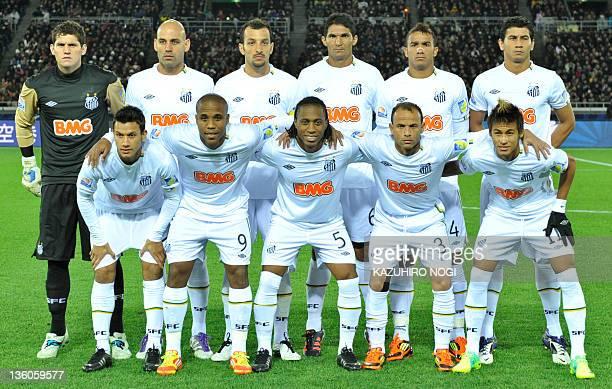Starting players of Santos FC Henrique Borges Arouca Leo Neymar Rafael Cabral Bruno Rodrigo Edu Dracena Durval Danilo Ganso during a photo session...