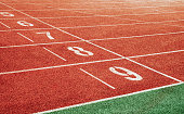 Starting point with running track lane Numbers, Concept for sport idea