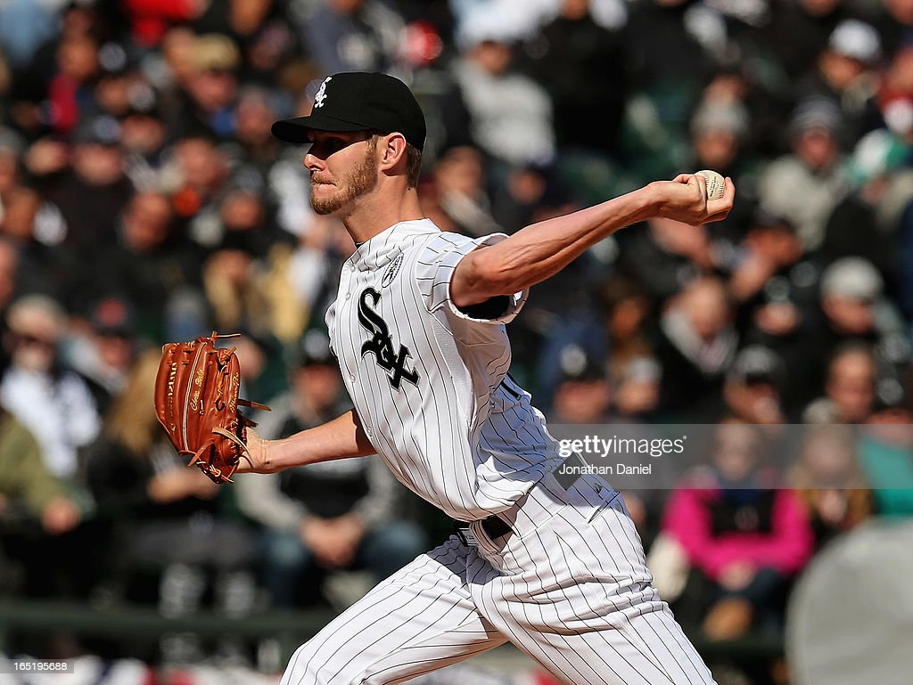 Starting pticher <a gi-track='captionPersonalityLinkClicked' href=/galleries/search?phrase=Chris+Sale&family=editorial&specificpeople=7132181 ng-click='$event.stopPropagation()'>Chris Sale</a> #49 of the Chicago White Sox delivers the ball against the Kansas City Royals during the Opening Day game at U.S. Cellular Field on April 1, 2013 in Chicago, Illinois.