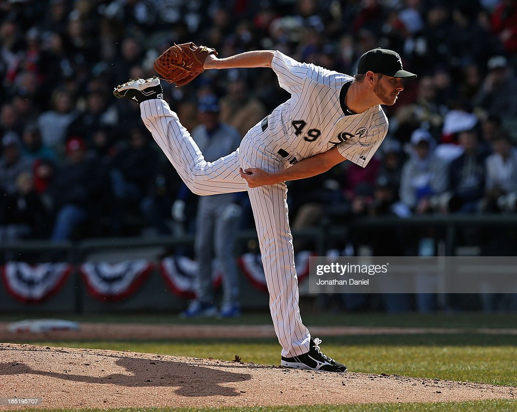 Starting pticher Chris Sale #49 of the Chicago White Sox delivers the ball against the Kansas City Royals during the Opening Day game at U.S. Cellular Field on April 1, 2013 in Chicago, Illinois.