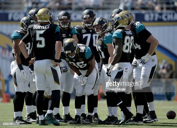 Starting quarterback Blake Bortles of the Jacksonville Jaguars calls a play in the huddle against the San Diego Chargers during an NFL game at...