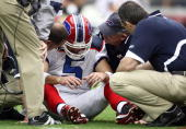 Starting Quarterback Trent Edwards of the Buffalo Bills suffers a concussion after getting hit by Strong Safety Adrian Wilson of the Arizona...