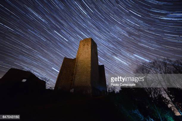 Startrail over Albornoz castle in Piediluco, Terni,Italy