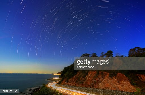 startrail with car light : Stock Photo