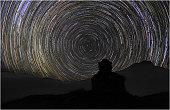 Star-trails around the polar star, Muktinath, Mustang region, Western Himalayas, Nepal.