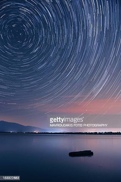Startrails over lake
