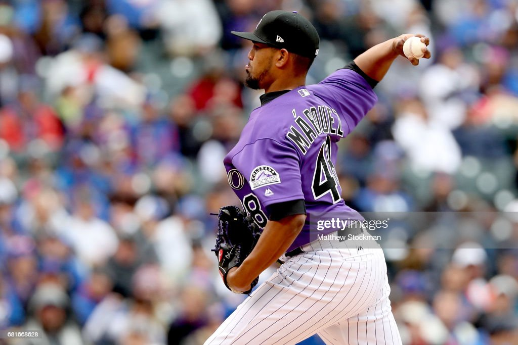 Startung pitcher German Marquez #48 of the Colorado Rockies throws in the seventh inning against the Chicagpo Cubs at Coors Field on May 10, 2017 in Denver, Colorado.