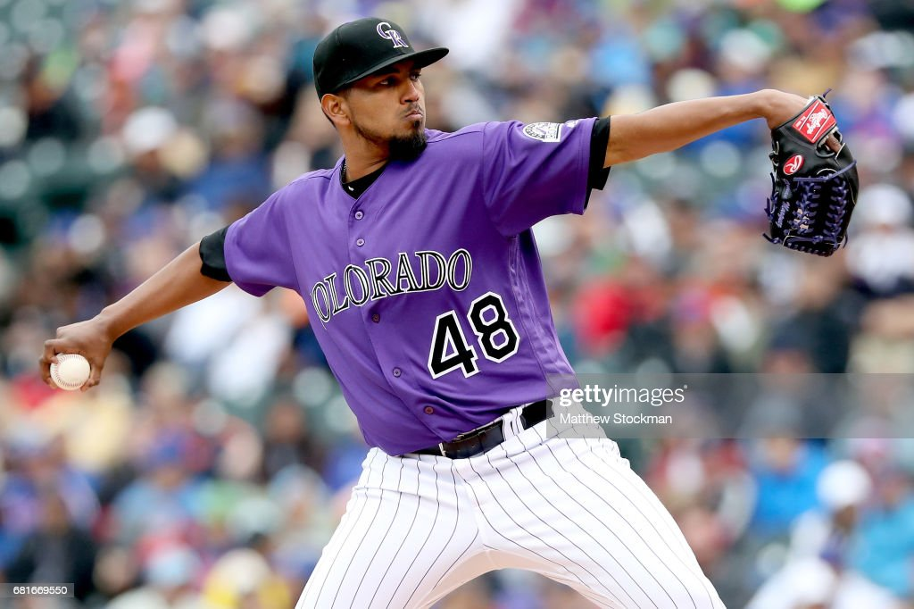 Startung pitcher German Marquez #48 of the Colorado Rockies throws in the fifth inning against the Chicagpo Cubs at Coors Field on May 10, 2017 in Denver, Colorado.