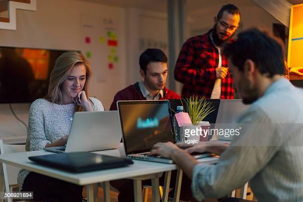 StartUp Programming Team Working Late.