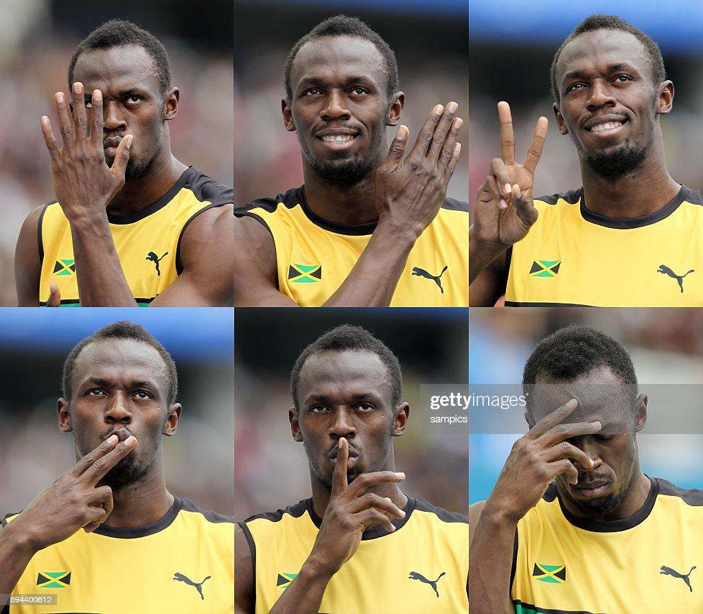 Startvorbereitung ala Usain Bolt beim 200 Meter Vorlauf die vielen gesichter des Sprinterstarts vl oben nach unten der Kämpfer der Entertainer der...