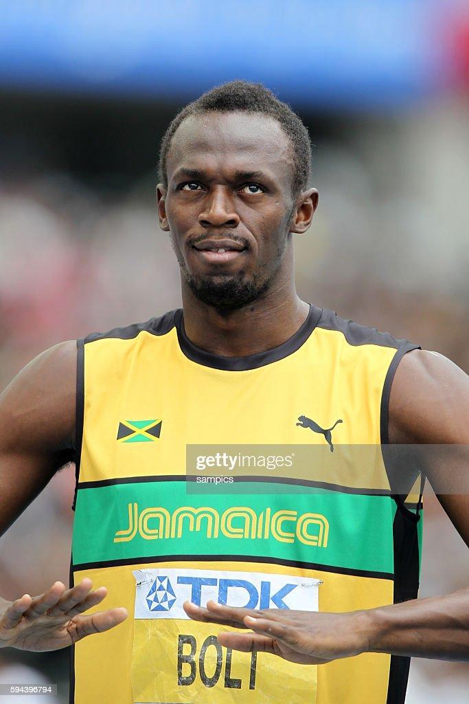Startvorbereitung ala Usain Bolt beim 200 Meter Vorlauf IAAF Leichtathletik WM Weltmeisterschaft in Daegu Sudkores 2011 IAAF world Championship...