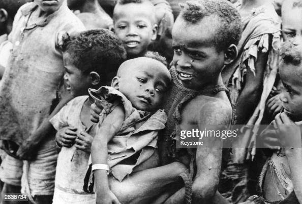 Starving children victims of the famine in Ethiopia in Kambata province