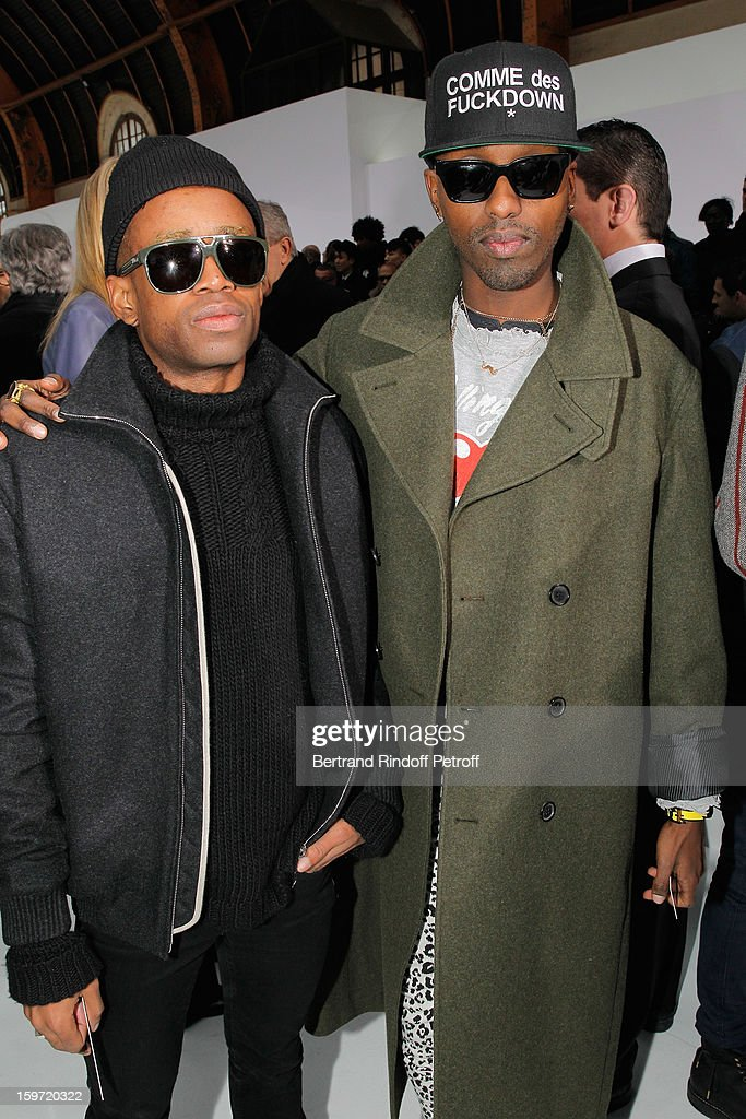 Starving Yet Full (R) and Fritz Helder, of the band Azari & III, attend the Dior Homme Men Autumn / Winter 2013 show as part of Paris Fashion Week, at Quartier des Celestins, on January 19, 2013 in Paris, France.