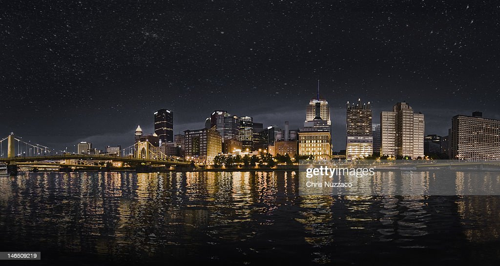 Stary night sky over Pittsburgh Pennsylvania